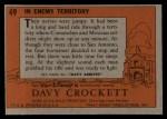 1956 Topps Davy Crockett #49 ORG  In Enemy Territory  Back Thumbnail