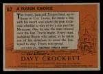 1956 Topps Davy Crockett #62 ORG Tough Choice   Back Thumbnail