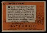 1956 Topps Davy Crockett #47 ORG Trouble Ahead   Back Thumbnail
