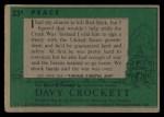 1956 Topps Davy Crockett #33 GRN Peace   Back Thumbnail