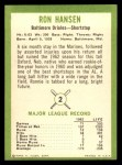 1963 Fleer #2  Ron Hansen  Back Thumbnail