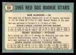 1965 Topps #509  Red Sox Rookies  -  Bob Guindon / Gerry Vezendy Back Thumbnail