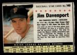 1961 Post Cereal #149 BOX  Jim Davenport  Front Thumbnail