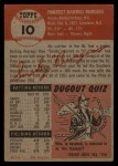 1953 Topps #10   Smoky Burgess Back Thumbnail