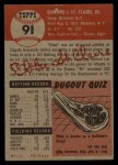1953 Topps #91  Ebba St. Claire  Back Thumbnail
