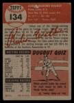 1953 Topps #134   Rube Walker Back Thumbnail