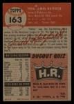 1953 Topps #163  Fred Hatfield  Back Thumbnail