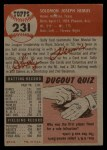 1953 Topps #231   Solly Hemus Back Thumbnail