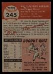 1953 Topps #245   Bill Norman Back Thumbnail