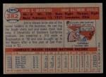 1957 Topps #382   Jim Brideweser Back Thumbnail