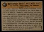 1960 Topps #467   -  Bill Burwell / Frank Oceak / Sam Narron / Mickey Vernon Pirates Coaches Back Thumbnail