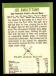 1963 Fleer #36   Joe Amalfitano Back Thumbnail