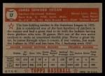 1952 Topps #17 RED Jim Hegan  Back Thumbnail