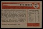 1954 Bowman #43 ERR Bob Friend  Back Thumbnail