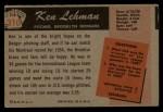 1955 Bowman #310   Ken Lehman Back Thumbnail