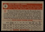 1952 Topps #30 RED Mel Parnell  Back Thumbnail