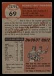 1953 Topps #69   Dick Brodowski Back Thumbnail