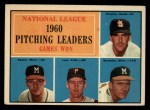 1961 Topps #47 ERR NL Pitching Leaders  -  Warren Spahn / Ernie Broglio / Lew Burdette / Vern Law Front Thumbnail