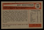 1954 Bowman #20   Art Houtteman Back Thumbnail
