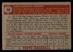1952 Topps #106   Mickey Vernon Back Thumbnail
