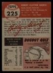 1953 Topps #225  Bobby Shantz  Back Thumbnail