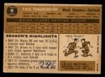 1960 Topps #9  Faye Throneberry  Back Thumbnail
