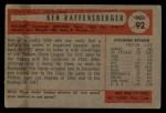 1954 Bowman #92   Ken Raffensberger Back Thumbnail