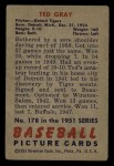 1951 Bowman #178  Ted Gray  Back Thumbnail