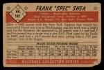 1953 Bowman #141   Frank Shea Back Thumbnail