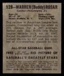 1949 Leaf #128   Warren  Buddy  Rosar Back Thumbnail