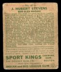 1933 Goudey Sport Kings #47  J. Hubert Stevens   Back Thumbnail