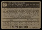 1952 Topps #67 BLK Allie Reynolds  Back Thumbnail