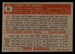 1952 Topps #36 RED  Gil Hodges Back Thumbnail