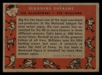1958 Topps #321  Sluggers Supreme    -  Ted Williams / Ted Kluszewski Back Thumbnail