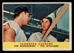 1958 Topps #321   -  Ted Williams / Ted Kluszewski Sluggers Supreme   Front Thumbnail