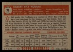 1952 Topps #36 RED Gil Hodges  Back Thumbnail
