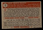 1952 Topps #11 RED  Phil Rizzuto Back Thumbnail