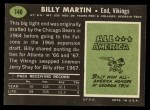 1969 Topps #148   Billy Martin Back Thumbnail