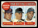 1969 Topps #1  AL Batting Leaders  -  Carl Yastrzemski / Danny Cater / Tony Oliva Front Thumbnail