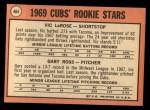 1969 Topps #404   -  Vic LaRose / Gary Ross Cubs Rookies Back Thumbnail