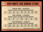 1969 Topps #654  White Sox Rookies    -  Carlos May / Rich Morales / Don Secrist Back Thumbnail