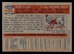1957 Topps #406  Bob Hale  Back Thumbnail