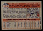 1957 Topps #278   Fred Hatfield Back Thumbnail