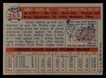 1957 Topps #265   Harvey Haddix Back Thumbnail