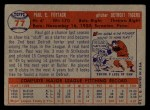1957 Topps #77  Paul Foytack  Back Thumbnail
