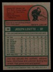 1975 Topps Mini #36   Joe Lovitto Back Thumbnail