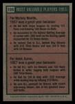 1975 Topps #195  1957 MVPs  -  Mickey Mantle / Hank Aaron Back Thumbnail