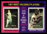 1975 Topps #195  1957 MVPs  -  Mickey Mantle / Hank Aaron Front Thumbnail