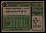 1974 Topps #57   Darold Knowles Back Thumbnail