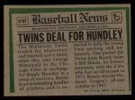 1974 Topps Traded #319 T Randy Hundley  Back Thumbnail